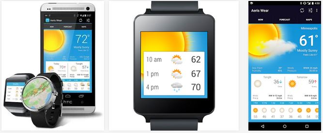 Aeris Wear Weather En İyi Android Wear Uygulamaları