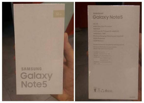Samsung Galaxy Note 5 kutu