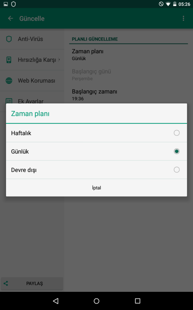 Kaspersky Internet Security for Android Planlı Güncelleme 4