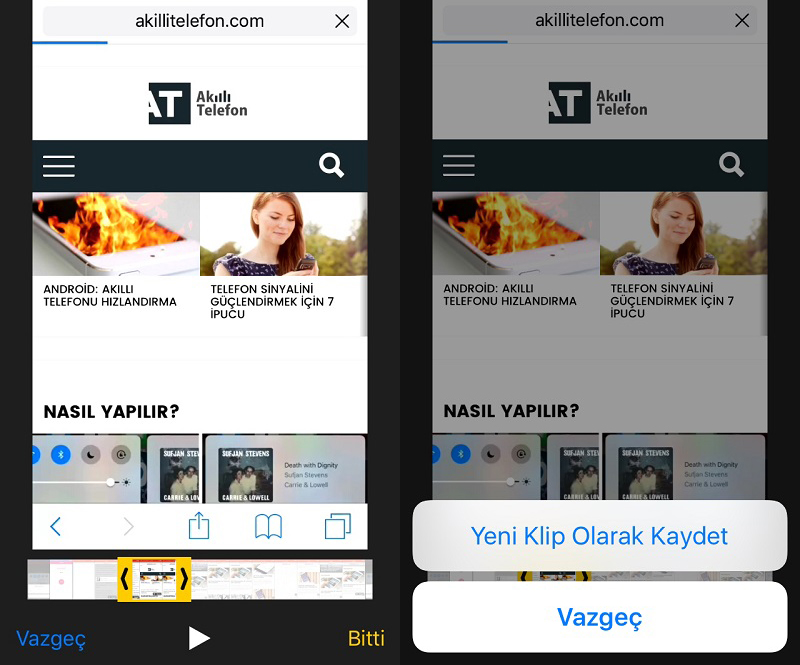 iOS 10'da Video Kırpma