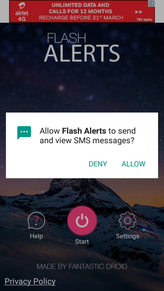 how to make phone flash when receiving a text