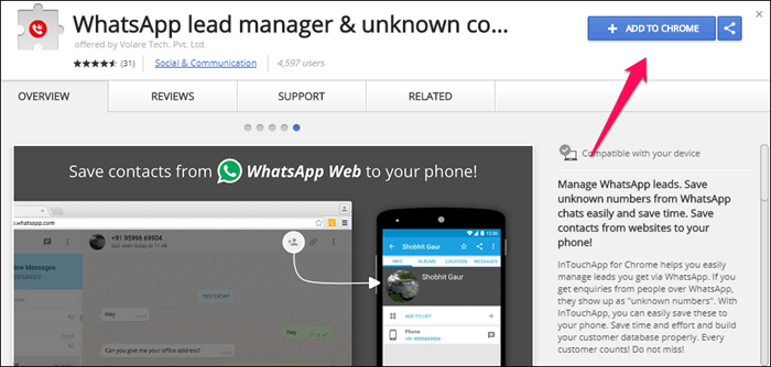 Whatsapp lead manager extension copic multiliner 0.03